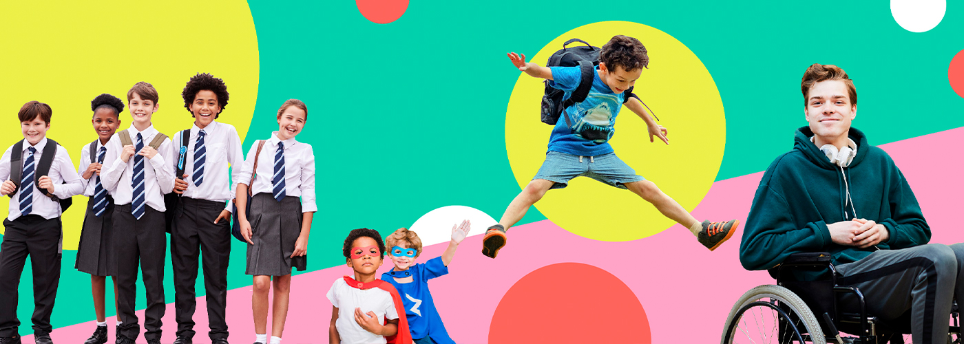 Colourful graphic featuring children
